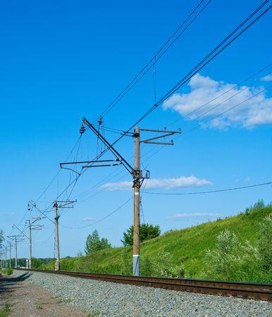 paesaggio industriale: Ferrovia a mezzogiorno. Paesaggio industriale. Shallow DOF