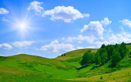 Summer landscape. Trees on hills of the Ural mountains  Stock Photo