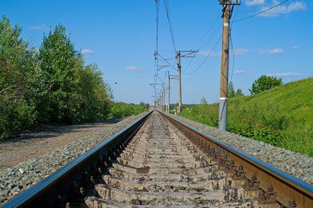 industrial landscape: Ferrovia a mezzogiorno. Paesaggio industriale. Shallow DOF