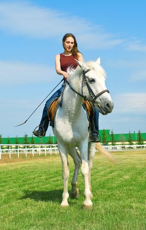 The young smiling girl embraces a white horse against summer landscape