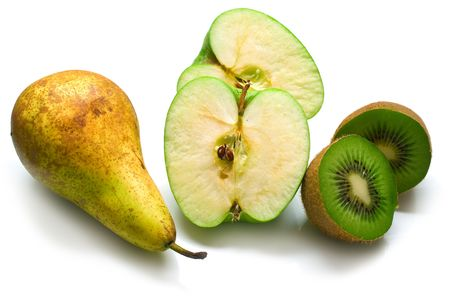 hairy pear: Green pear, apple and kiwi fruit on a white background. Isolation on white Stock Photo