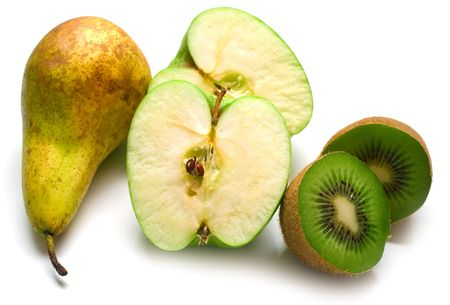 hairy pear: Green pear, apple and kiwi fruit on a white background. Isolation on white