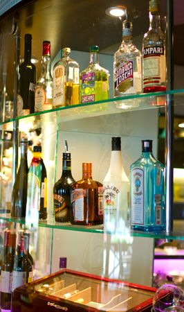 The bottles of spirits and liquor at the bar