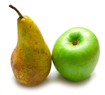 hairy pear: Green pear and apple on a white background. Isolation on white  Stock Photo