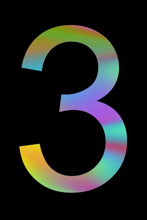 The multicolor number 3. Isolated on black background photo