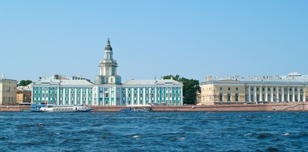 Building of kunstkamera on University quay. Saint-Petersburg, Russia  photo