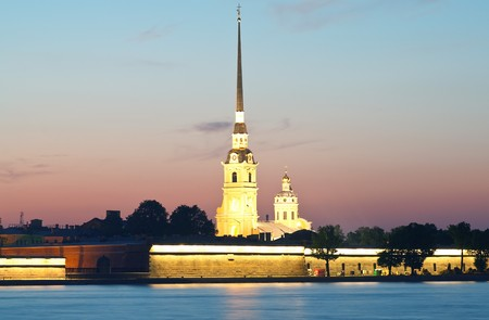 Russia, St. Petersburg. Peter and Paul Fortress in a white night  photo