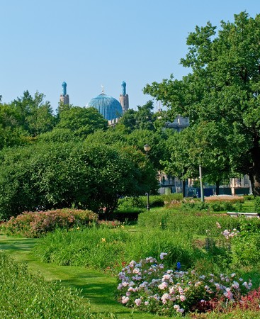 mohammedan: The minarets of St. Petersburgs cathedral mosque. Stock Photo