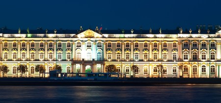 The ancient building in St. Petersburg at night. Russia