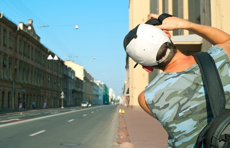 The tourist photographing the urban landscape. Summer, outdoor. Shallow DOF Stock Photo - 7510786