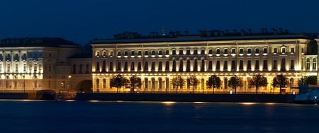 Night urban landscape with river. Saint-Petersburg, Russia