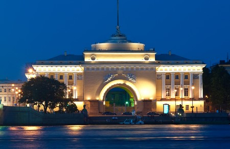 The ancient building in St. Petersburg at night. Russia  photo
