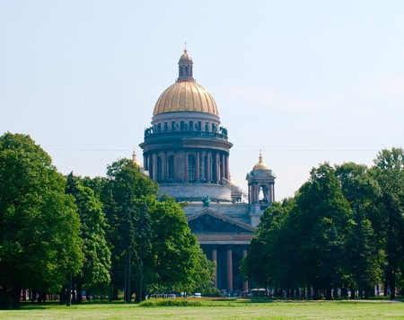 Saint Isaacs Cathedral against blue sky, St.Petersburg, Russia photo