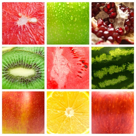 The dessert background. Collage from several fruits. Shallow DOF Stock Photo