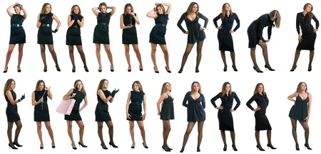 The young beautiful girl in a black dress. Isolation on a white background. Collage