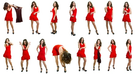 The young women in red dress on a white background. Isolation. Collage
