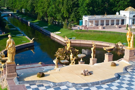 switched: The switched off Grand Cascade Fountains At Peterhof Palace, St. Petersburg. Shallow DOF