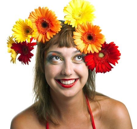 The beautiful girl with a wreath of flowers on her head. Isolated on white Stock Photo - 10106112