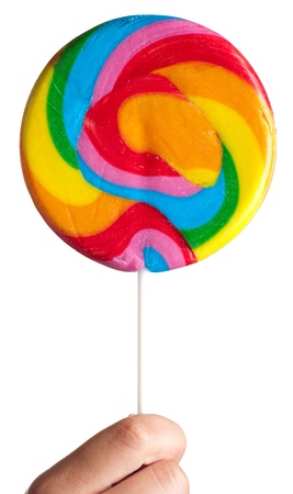 Colorful spiral lollipop isolated in hand on white background.