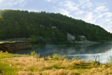 Summer landscape with river Belaya, Ufa area, Bashkortostan, Russia