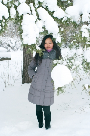 Attractive young girl in wintertime outdoor Stock Photo - 21140985