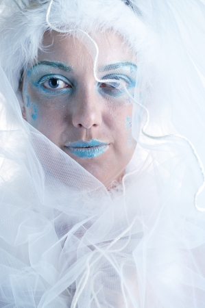 The girl with creative winter makeup and veil