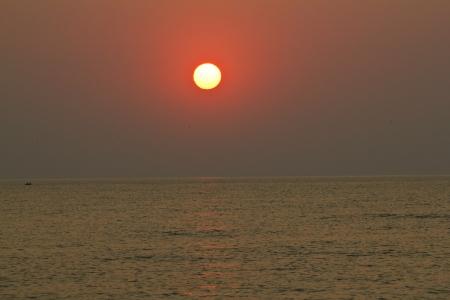 The sunrise at the sea, summer landscape