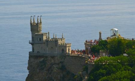Castle on the cliff by the sea. Swallow's Nest Castle Ukraine Crimea mountain