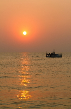 Fishing boat on the water of Black sea.