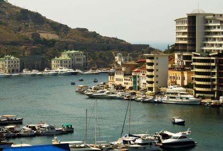 The ships at pier Balaclava Town, Crimea, Ukraine