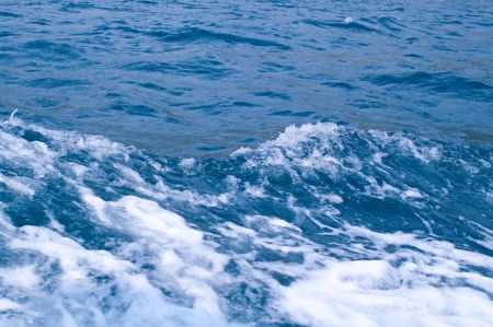 Blue sea with waves and foam. Shallow DOF