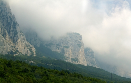 The fog and cloud in mountain valley. Summer landscape. Crimea, Ukraine Stock Photo - 23091433