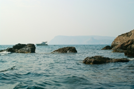 Rocks on the beach of Black Sea. Summer landscape.
