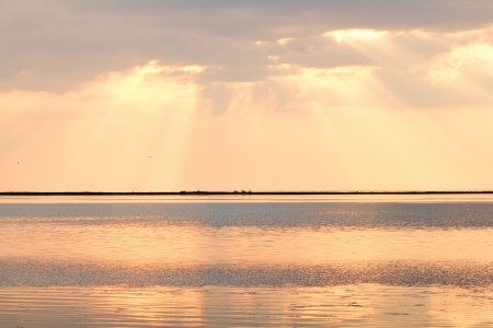 The beautiful sunset on Sea of Azov. Berdyansk spit, Berdyansk, Ukraine
