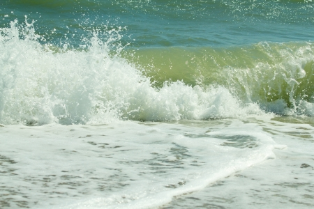 Sea of Azov with waves and foam. Shallow DOF Stock Photo