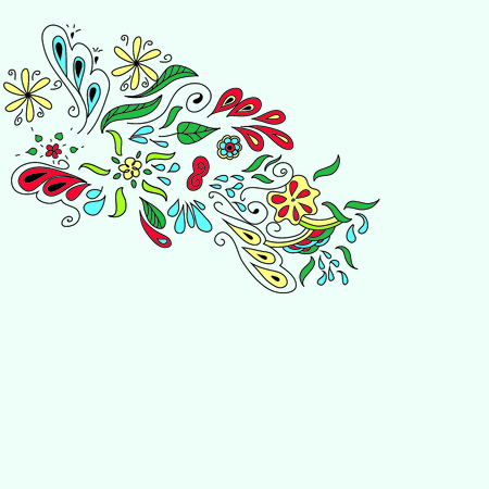 Colorful organic ornament with flovers and leaves, doodle