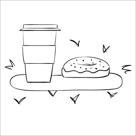 coffeecup: Vector donut and coffee. coffee-cup with donut. Vector cartoon coffee and donut. Coffee to go with donut. Donut coffee vector. Donut isolated, dessert menu.