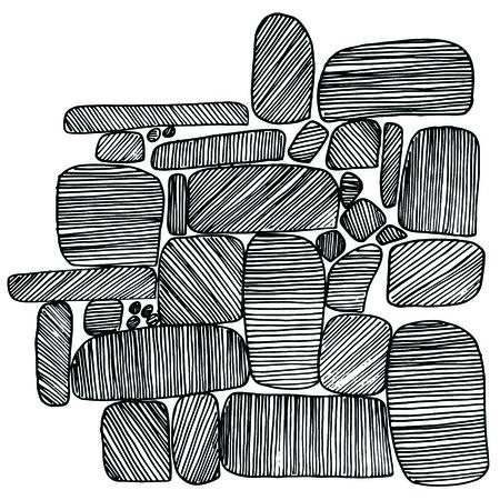 pebble: Sea stones set. Hand drawn vector stones Illustration