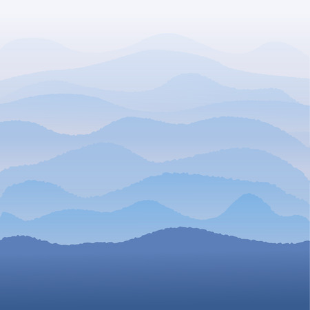 Blue mountains in the morning fog. Illustration