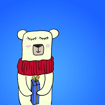 Urso Polar De Sorriso Bonito Tirado Mao Dos Desenhos Animados No Lenco Que Guarda A Caixa