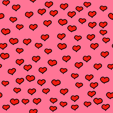 Hearts dots seamless pattern simple decoration. Doodles ornament background with hearts. Color vector illustration.