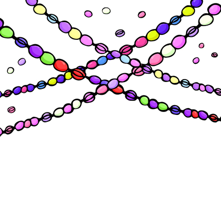 colored carnival mardi gras beads, hand dawn vector illustration, white background