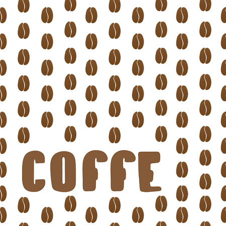 coffe beans: Vector coffee beans background with text area. Seamless coffe beand pattern Illustration