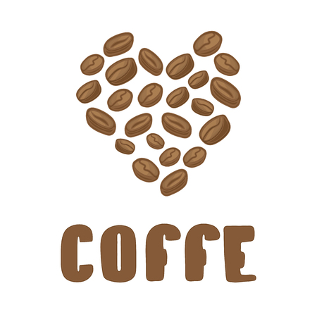 coffe beans: Vector coffee beans illustration with text. Coffe beans in heart.
