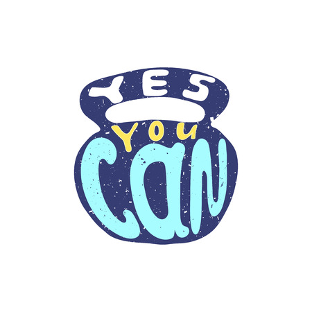 can yes you can: Hand drawn typography poster. Motivation quote yes you can isolated on light bulb background. Calligraphy lettering vector illustration for home decoration.