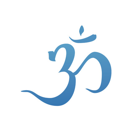 aum: Hand drawn om symbol. Ink illustration. Modern brush calligraphy. Isolated on white background.
