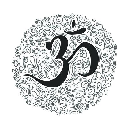om sign: Hand drawn om symbol. Ink illustration. Modern brush calligraphy. Isolated on white background.