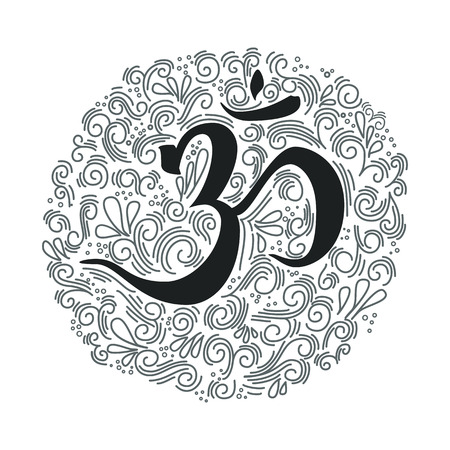 Hand drawn om symbol. Ink illustration. Modern brush calligraphy. Isolated on white background.