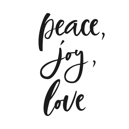 Peace, joy, love. Hand lettering calligraphic Christmas type poster