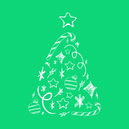Christmas tree collection. Christmas poster with decorations